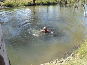 Cold dip in Fletcher Creek