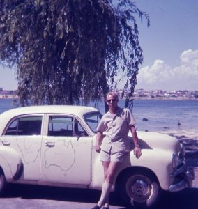 Don't I look neat in a Safari Suit?  Me and my Holden 1968