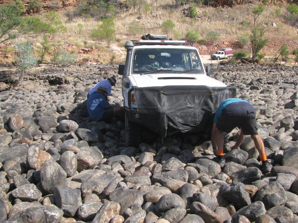Bogged in rocks